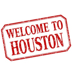 Houston - welcome red vintage isolated label vector