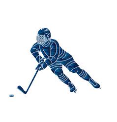 Ice hockey player action cartoon sport graphic vector