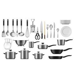 kitchenware set kitchen utensils and cutlery vector image