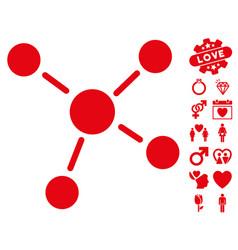links icon with valentine bonus vector image