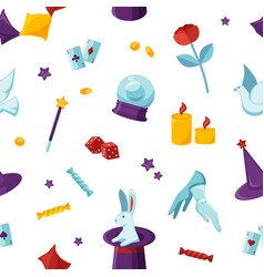 Magician attributes seamless pattern vector