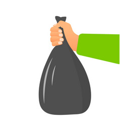 Male hand holding garbage bag concept vector