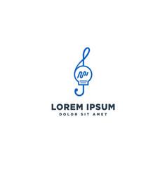 Music idea bulb logo template icon element vector