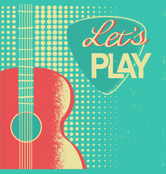 Music poster with acoustic guitar on old retro vector