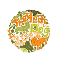 new year basset pattern vector image