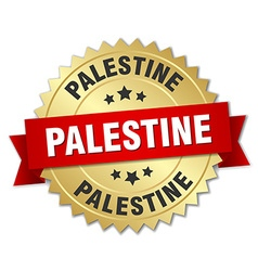 Palestine round golden badge with red ribbon vector image