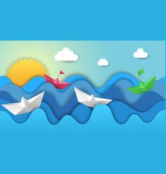 paper boats on dawn origami sunrise regatta vector image