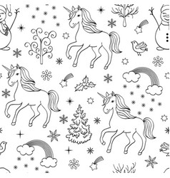 pattern with unicornstreesbirdssnowmen vector image