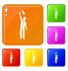 People group demonstration icons set color vector
