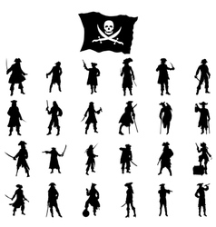 Pirates crew silhouettes set vector