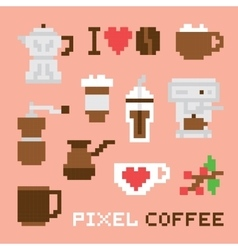 Pixel art coffee isolated set vector image