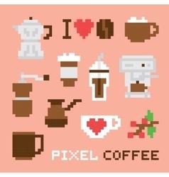 Pixel art coffee isolated set vector
