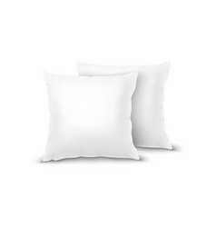 realistic 3d white pillow set closeup vector image