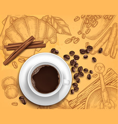 realistic coffee cup on handdrawn vector image