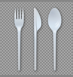 realistic plastic cutlery set fork knife spoon vector image
