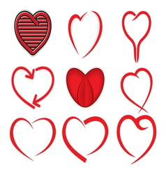 Red heart collection vector image
