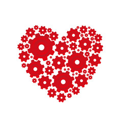 Red heart shape with pinions and gears set vector
