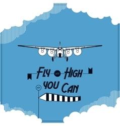 Retro plane typographic card vector