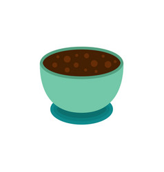 round blue cup with hot chocolate with a bubbles vector image