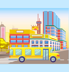 school bus riding city town with houses vector image