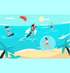 sea sport cartoon people doing extreme activities vector image