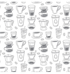 seamless collection coffee doodle elements vector image