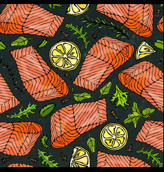 Seamless pattern of salmon fillet lemon vector
