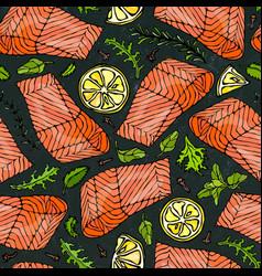 Seamless pattern salmon fillet lemon vector
