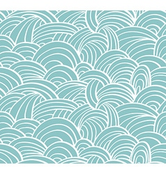Seamless sea hand-drawn pattern waves background vector