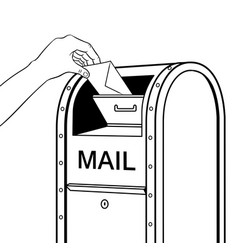 sending letter to mail box coloring book vector image