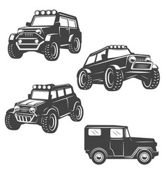 set off road cars icons isolated on white vector image