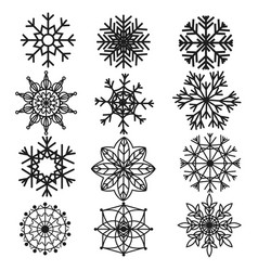 set snowflakes collection stylized vector image