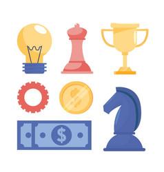 set teamwork business stratgy information vector image