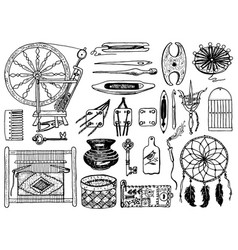 set tools for hobsewing elements or vector image