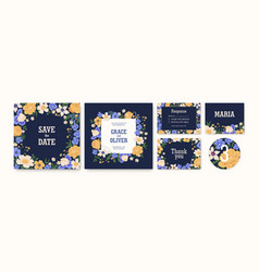 set wedding invitation cards and labels with vector image