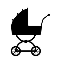 Silhouette carriage baby wheel design vector