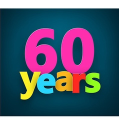 Sixty years paper sign vector image