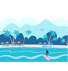 surfing girl on a beach palm sand ocean on vector image