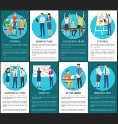 Teams develop working tasks and strategies posters vector