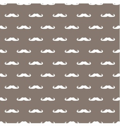 Tile hipster moustache white and brown background vector image