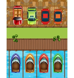 Top view of cars and boats parking vector
