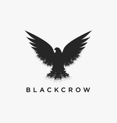 Vintage retro hipster flying crow logo icon vector