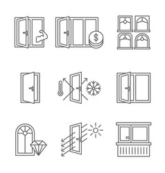 windows icon set with door and balcony lines vector image vector image