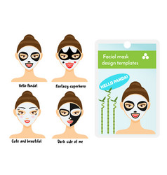 woman facial sheet masks design templates package vector image