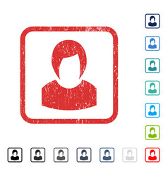 Woman profile icon rubber watermark vector
