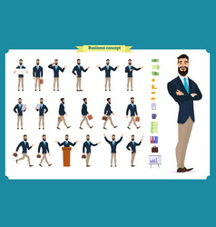 young businessmandifferent poses and emotions vector image