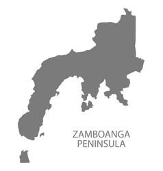 Zamboanga peninsula philippines map grey vector