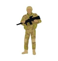 Armed Soldier with Weapon Isolated Infantry Troop vector image