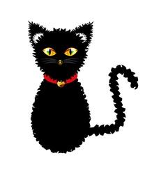 Black Cat Yellow Golden Eyes vector image