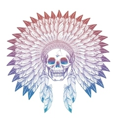Colorful skull in native american headdress vector image vector image